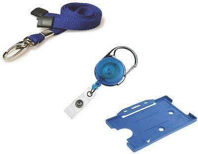 ID Neck Strap Lanyard, ID Card Holder & Retractable Reel Pass Badge Holder Blue