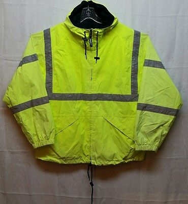 High Visibility Reflective Tape Safety Jacket Mens L Hooded Spots Faded - D87
