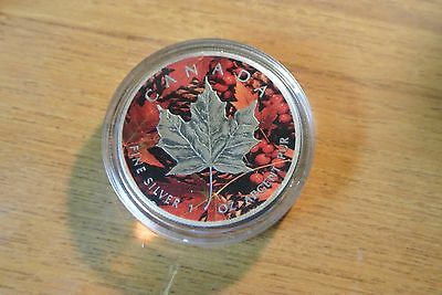 2015 1 oz Silver $5 FALL LEAVES Canada Maple Leaf Coin With  Ruthenium