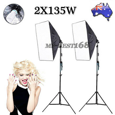 New 2X135W Photo Studio Continuous Lighting Softbox Soft Box Light Stand Kit AU