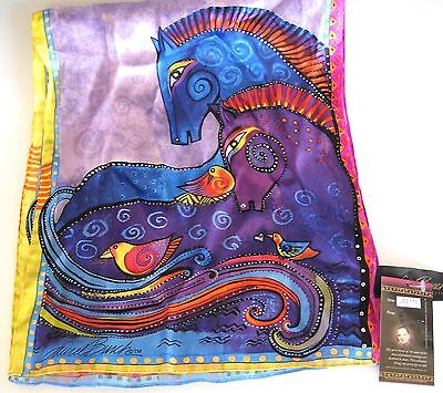 Laurel Burch LBS178 AQUATIC MARES 100% Silk Scarf NWT