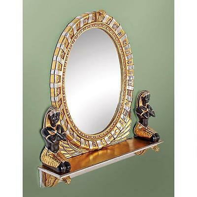 """Egyptian Pharaoh Amenhotep Statue Vanity Mirror 31"""" Finished In Faux Gold Leaf"""