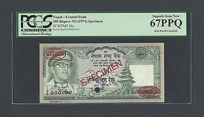 Nepal 100 Rupees ND(1974) P26s Specimen TDLR  Uncirculated