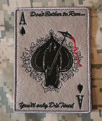 Ace Of Spades Grim Reaper Death Card Acu Hook & Loop Morale Patch