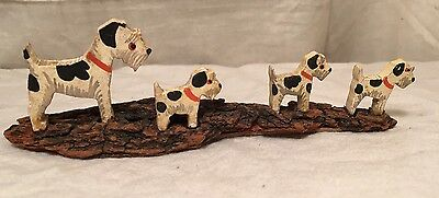 Vintage Black White Airedale Jack Russell Terrier Dog Miniature Figure Pups Wood