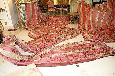 French Antique Drapes Panels 6 Pc Set Outstanding Stunning Silk Raspberry Golds