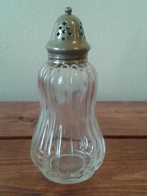 """England Antique Muffineer Tall Clear Ribbed Glass Sugar Shaker 6"""" Silver plate"""