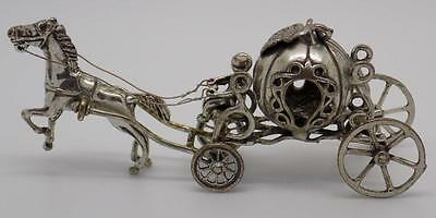 Vintage Solid Silver Disney Cinderella Carriage - Stamped - Made in Italy