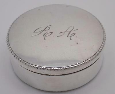 Vintage Solid Silver Round Pill / Snuff Box - Stamped - Made in Italy