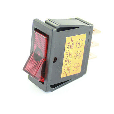 Red Illuminated Rocker Switch - On / Off  - Car Tractor 12v Dash Light