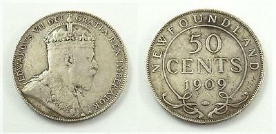 1909 Newfoundland, Canada 50 Cents Silver Coin - King Edward VII - F to VF