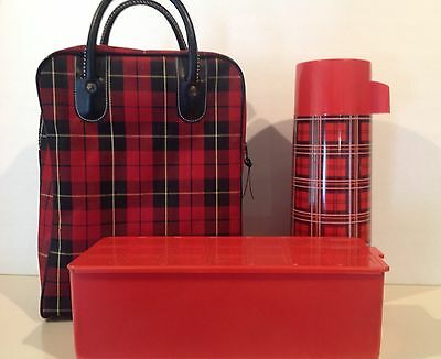 Vintage 1960's Aladdin Red Plaid Thermos & Lunch Box Set