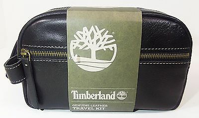 Timberland Men's NEVADA LEATHER TRAVEL KIT TOILETRY BAG Black NP0352-08 a