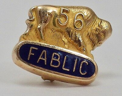 Vintage 10K Yellow Gold 1956 FABLIC Buffalo Frateral Pin 2.6 Grams