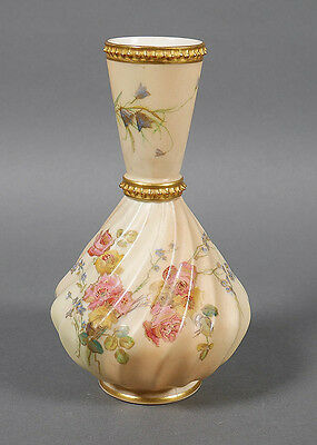 Antique Royal Worcester Hand Painted Swirl Vase #1452 Excellent