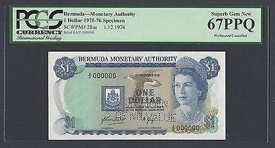 Bermuda One Dollar 1-12-1976 P28as Specimen Perforated Uncirculated