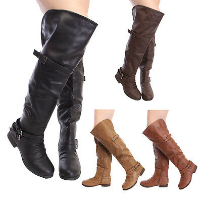 855fe06a8667 Women s Low Flat Heel Over Knee Sexy Hot Slouch Thigh Buckle Zipper Riding  Boots