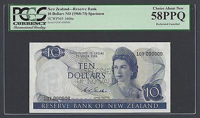 New Zealand 10 Dollars 1968-75 P166bs Specimen Perforated About Uncirculated
