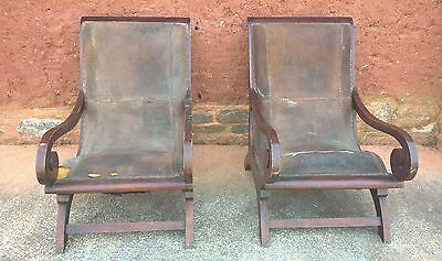 """Pair Of Vintage """"Old Colonial Plantation Style"""" Easy Chairs"""