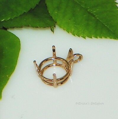 Round Pre-notched ROSE GOLD Plated Sterling Silver Pendant Setting