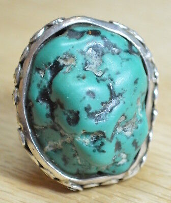 Vintage Massive Turquoise Sterling Ring Size 8.5 TB10