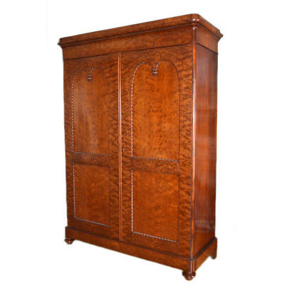 Fine Mouchette Mahogany English Victorian Era William IV Linen Press Armoire