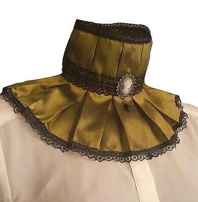 Olive Green Taffeta Lace Collar Choker Cameo Victorian Steampunk Goth Whitby