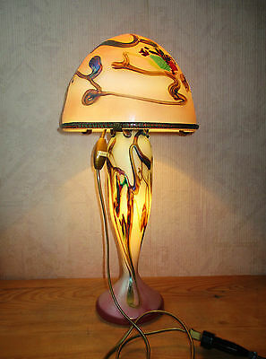 Beautiful lamp mushroom molten glass iridescent signed Aconito Guyot Biot 1991