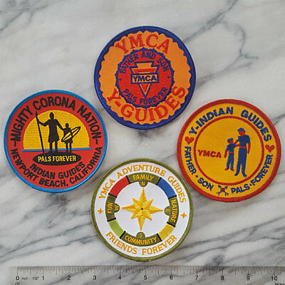 (4) lot of VINTAGE YMCA INDIAN GUIDES Iron on Patch FATHER & SON Pals Forever