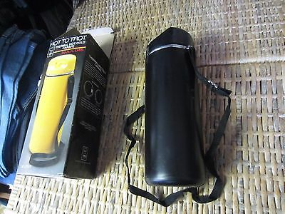 A.K. DAS Black thermal HOT/COLD CARAFE Insulated coffee Thermos vtg 70s travel