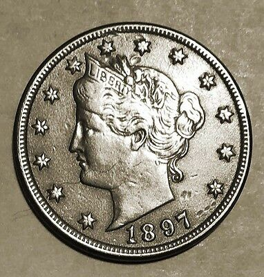 Brilliant 1897 Liberty Head Nickel with Cents