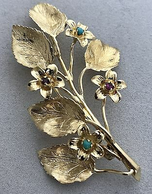 Authentic Tiffany & Co Vintage Brooch In 18K Yg Set With Rubies & Turquois, Rare