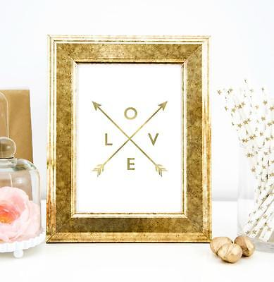 Love Faux Gold Typography Wall Art Print Quote Art Print Home Office Decor White