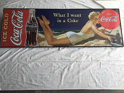 "Coca-Cola ""What I Want Is A Coke "" Glass Black Framed Sign 63"" X 21"""