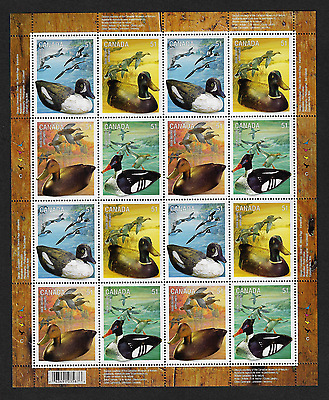 Canada Stamps -Full Pane of 16 -Duck Decoys #2163-2166 MNH
