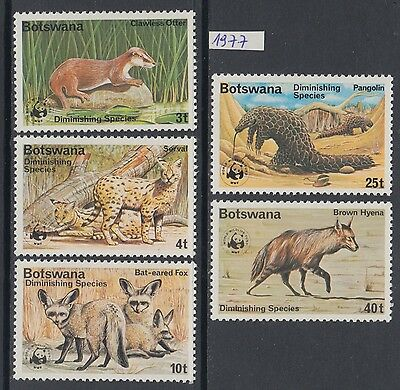 XG-BA003 BOTSWANA - Wwf, 1977 Wild Animals, Diminishing Species MNH Set