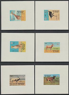 XG-BA026 NIGER IND - Wwf, 1978 Wild Animals, 6 Deluxe Proof Sheets MNH