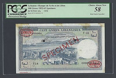 Lebanon 100 Lira 1-11958 P60s Specimen TDLR About Uncirculated