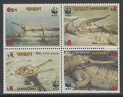 XG-BA099 BANGLADESH - Wwf, 1990 Wild Animals, Crocodiles Block Of 4 MNH Set