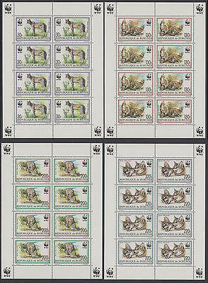XG-BA113 BURUNDI - Wwf, 1992 Wild Animals, 4 Miniature Sheets MNH
