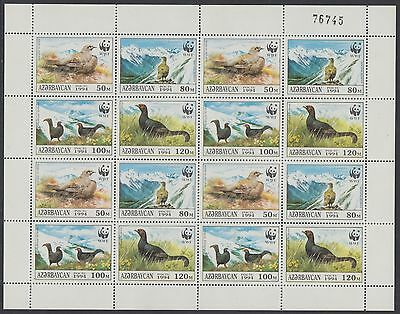 XG-BA130 AZERBAIJAN - Wwf, 1994 Birds, Black Grouse MNH Sheet