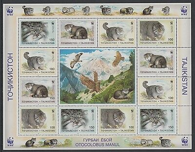 XG-BA152 TAJIKISTAN - Wwf, 1996 Pallas'S Cat, Nature, Birds MNH Set