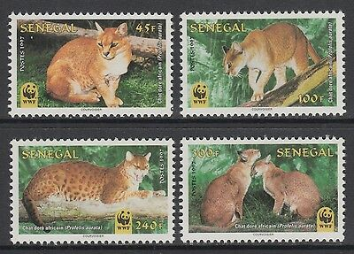 XG-BA202 SENEGAL IND - Wwf, 1997 Wild Animals, African Golden Cat MNH Set