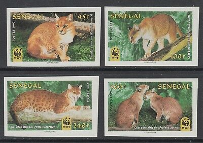 XG-BA203 SENEGAL IND - Wwf, 1997 Wild Animals African Golden Cat Imperf. MNH Set