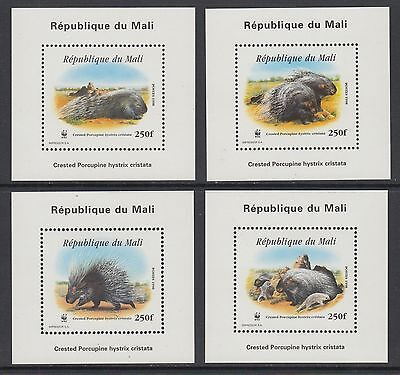 XG-BA207 MALI IND - Wwf, 1998 Wild Animals Crested Porcupine 4 Deluxe Sheets MNH