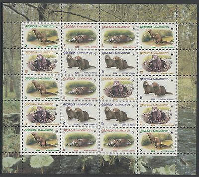 XG-BA244 GEORGIA - Wwf, 1999 European Mink, Wild Animals MNH Sheet