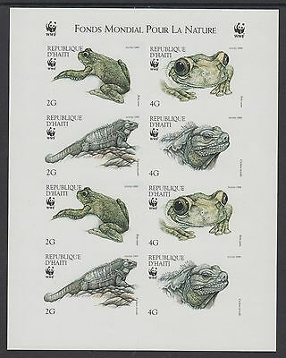 XG-BA258 HAITI - Wwf, 1999 Wild Animals, Iguana, Frog, 2 Sets Imperf. MNH Sheet