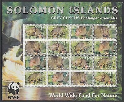 XG-BA301 SOLOMON ISLANDS IND - Wwf, 2002 Wild Animals, Grey Cuscus MNH Sheet