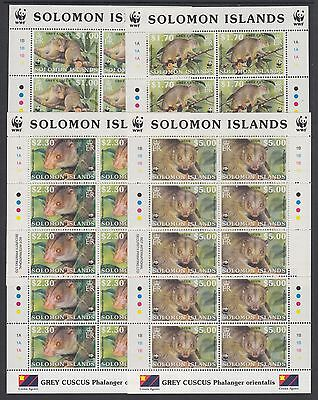XG-BA302 SOLOMON ISLANDS IND - Wwf, 2002 Wild Animals, Grey Cuscus, 4 Sheets MNH