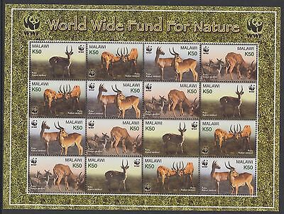 XG-BA341 MALAWI - Wwf, 2003 Wild Animals, Puku, 4 Sets MNH Sheet
